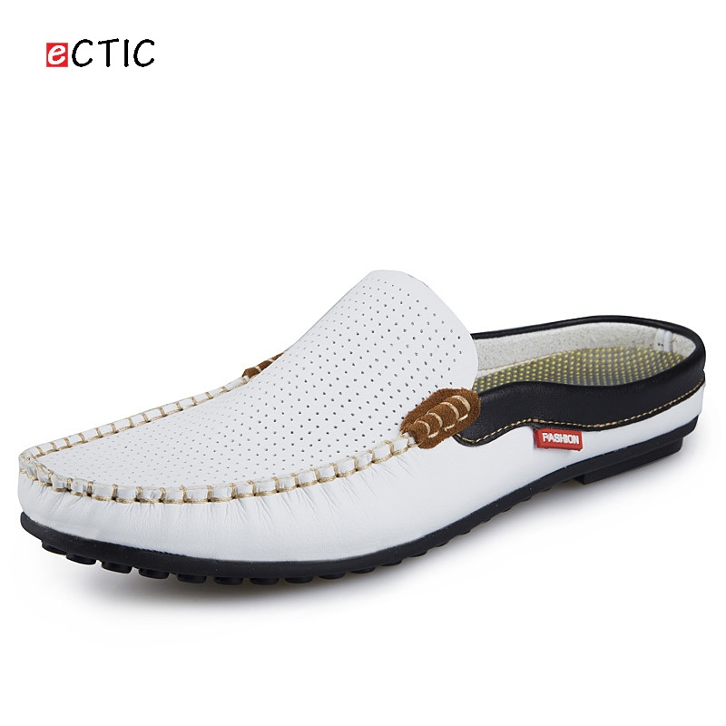 Men loafers Luxury Brand Shoes Summer men casual shoes Backless Loafers Open Backs Shoes Breathable Leather