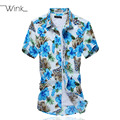 Mens Floral Cotton Shirts Slim Fit Short Sleeve Plus Size M-5XL Dress Casual Blouse Chemise Homme New Arrival Blue S037