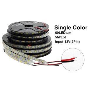 Image 2 - 5050 LED רצועת DC 12V לא עמיד למים/עמיד למים 60LED/m RGB/לבן/חם לבן גמיש LED אור רצועות 5 מטר\חבילה
