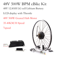 Rear motor BPM 48V 500W electric bike conversion kit 48v 12.8ah Lithium battery 60-80km distance