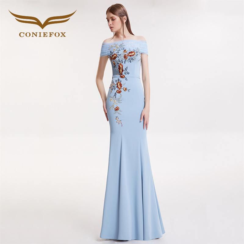 CONIEFOX 32163 blue boat neck host Trumpet elegant evening party dress prom dresses vestido de festa longo para casamento