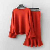 Autumn Jumper Sweater Women Office Elegant Knitted Pullover + Pencil Skirt 2pcs Suits Sweater Tops And Long Skirts Sets C3674