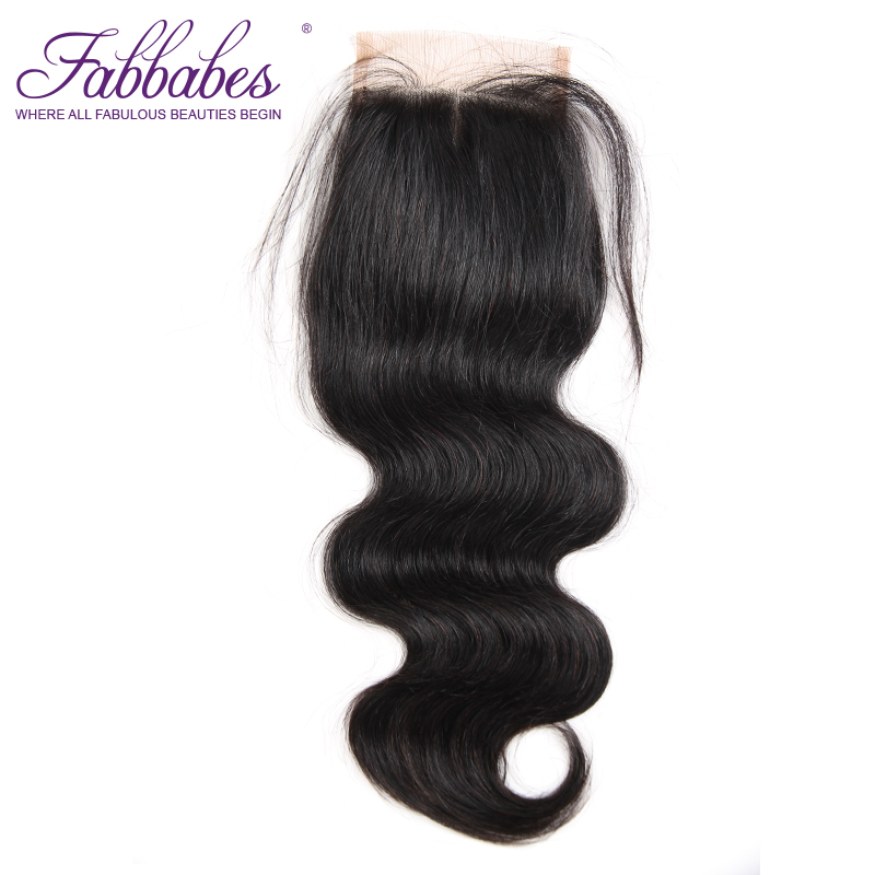Fabbabes Brazilian Remy Hair Lace Closure Body Wave Human Hair 4X4 Swiss Lace with Baby Hair Shipping Free