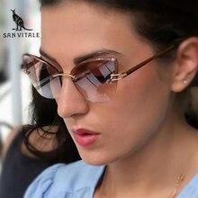 SAN VITALE Cat Eye Sunglasses Women Brand Designer Ladies Fashion Vintage Rimless Sun Glasses For Female UV400 Oculos de SWS099