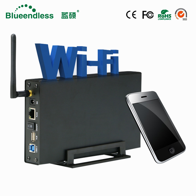 Di alluminio Hard disk esterno caso Nas wifi router 300 mbps wifi ripetitore HDD3.5 sata a usb 3.0 box hard disk esterno casella del disco rigido