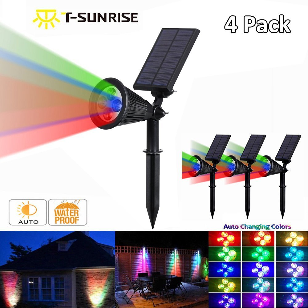 Solar Spotlights 4 Led Solar Powered Wall Lights Color