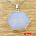 JUWEILI Jewelry Retail 1x Silver Plated Natural Stone Hexagram Pyramid Reiki Pendant Necklace Opal Onyx Amethyst Blue Sand