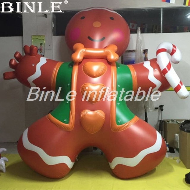 free shipping 3mh giant inflatable gingerbread man model inflatable ginger man with candy cane for christmas - Inflatable Gingerbread Man Christmas Decor