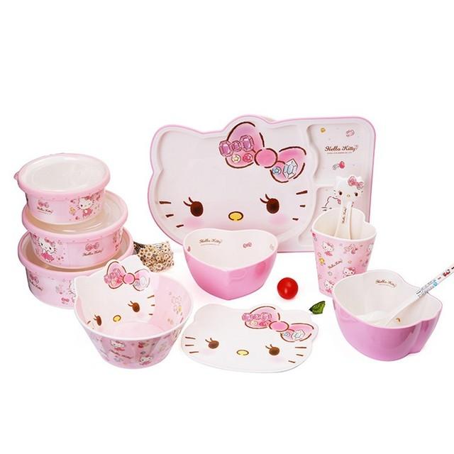 11 pcs nova Alta qualidade das Crianças Conjunto de Talheres Melamina utensílios de mesa das Crianças dos desenhos animados do gato adorável para o bebê talheres conjunto colher