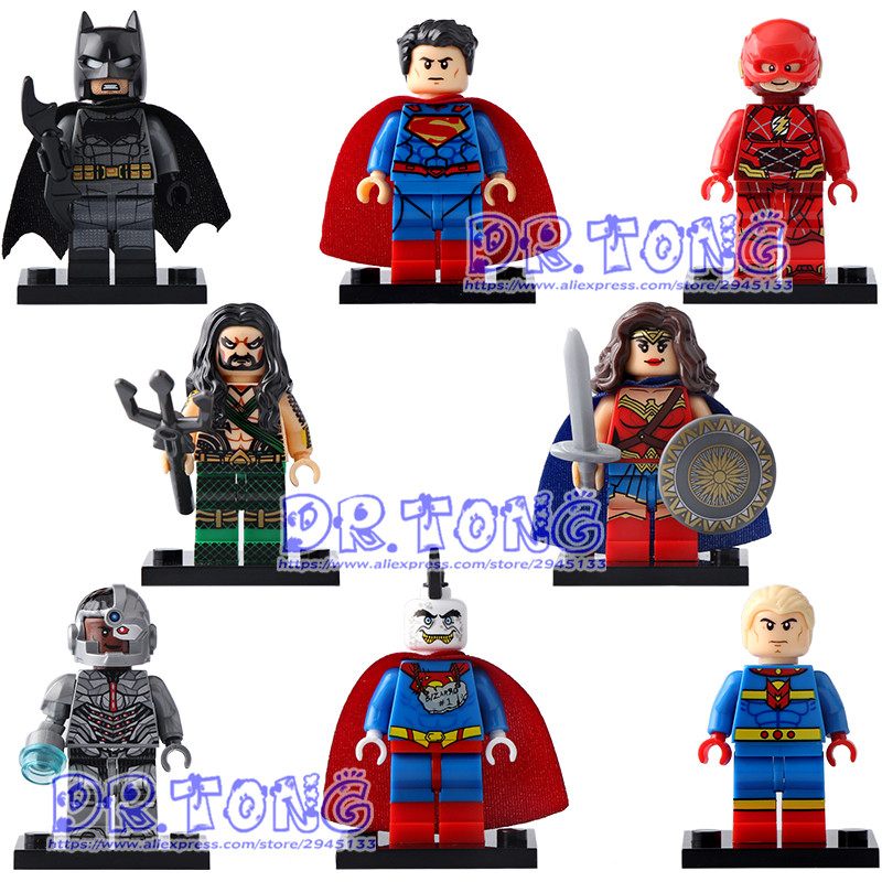 DR TONG 80pcs/lot X0167 Super Heroes Marvel Superman Cybog The Flash Aquaman Bizarro Mister Fantastic Building Blocks Toys dr tong 20pcs lot pg1049 super hero
