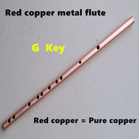 Chinese Flute Red Copper Metal Flute Dizi C DE F G KEY Metal Flauta Transverse Flute Musical Instruments Self defense Weapon