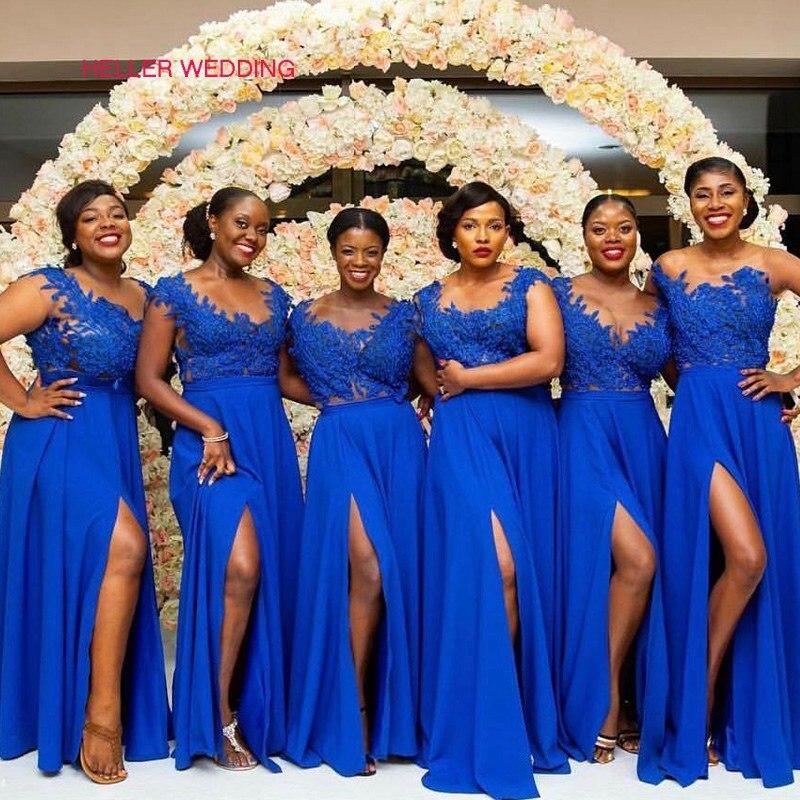 Plus Size Bridesmaid Dress Appliques Cap Sleeves Scoop Neck Side Slit Royal Blue Bridesmaid Dresses Vestidos Para Una Boda