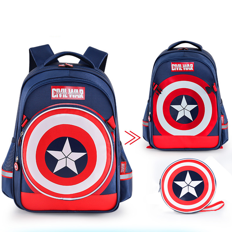 Disney Children s School Bag Marvel Super Hero Backpack for Kids Captain  American Bag Iron Man Shoulder Bag-in Plush Backpacks from Toys   Hobbies  on ... 78348efd4685d