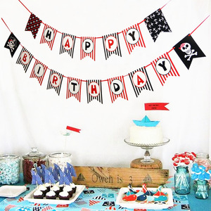 Image 5 - Pirate Happy Birthday Banner Pirate Theme Polka Dots Striped Printed Pirate Party Pirate Banner Photo Prop Happy First Birthday