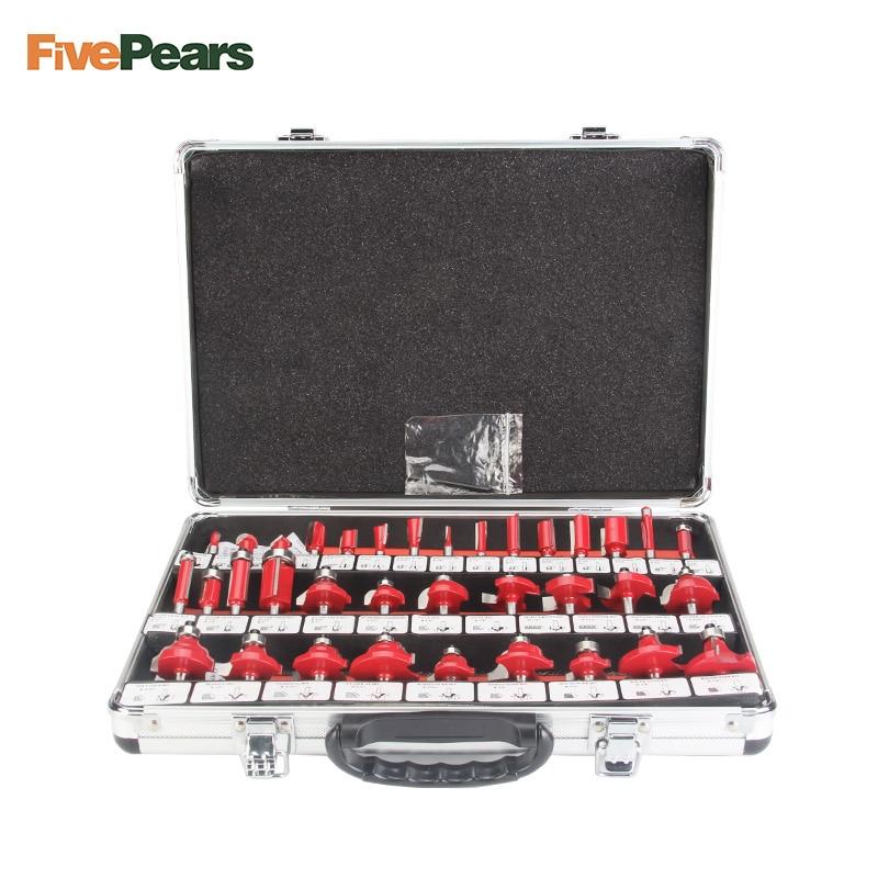 FivePears 35 pcs 8mm Routeur Bits Set Professionnel Shank Tungsten Carbide Router Bit Cutter Set Avec Caisse En Bois Pour bois