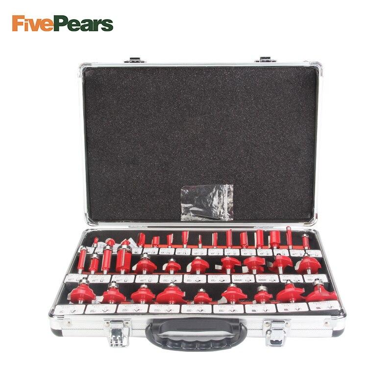 FivePears 35 pz 8mm Router Bits Set Professionale Shank Carburo di Tungsteno Router Bit Cutter Set Con Cassa di Legno Per di legno