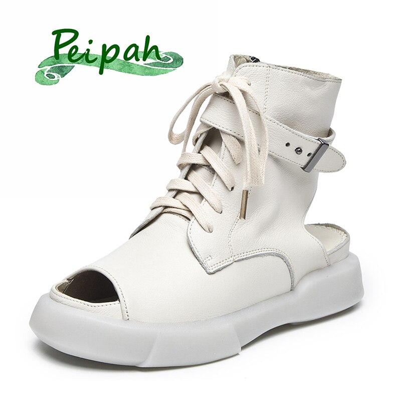 PEIPAH Designer en cuir véritable femmes mi-mollet bottes 2019 nouveau été bout ouvert poisson bouche chaussures romaines solide Femme Martin bottes