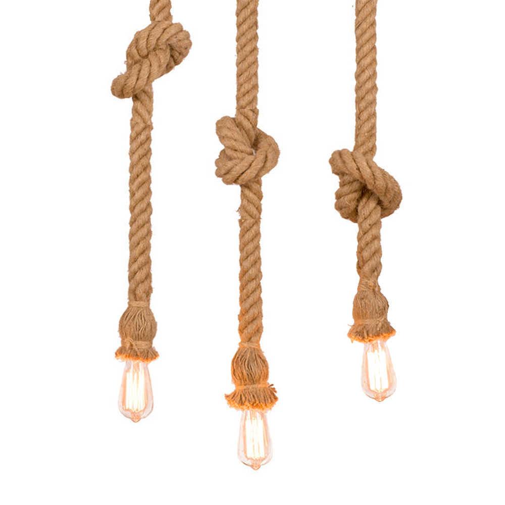 Винтажная пеньковая веревка Подвесные светильники Ретро Лофт светильник подвесной промышленного назначения для гостиной кухни домашние осветительные приборы Декор Светильник