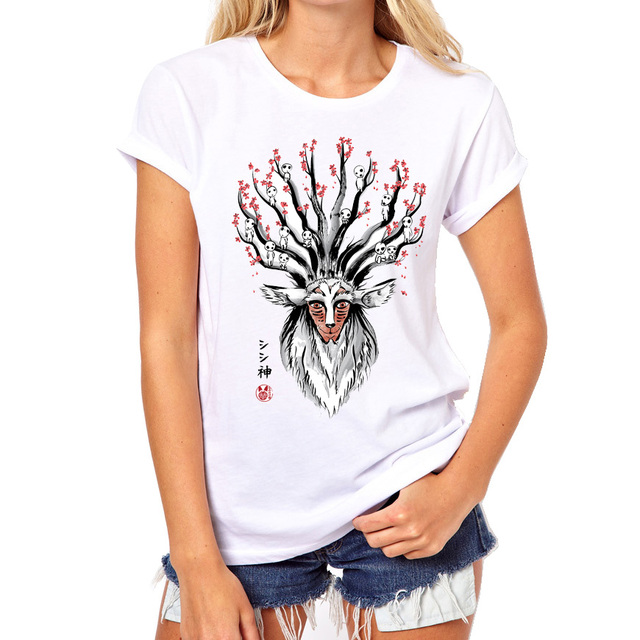 Deer god princess mononoke Design T shirt Women 2017 New Lady Fashion  Fantastic Totoro harajuku Summer