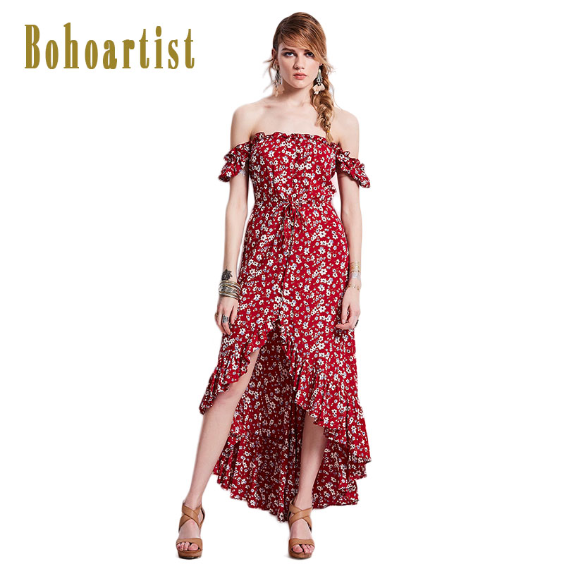 Bohoartist Boho Long Dress Flower Print Off Shoulder Slash Neck Puff Sleeve Irregular Hem Drawstring Beach Summer Maxi Dresses