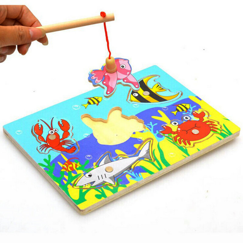 New Arrive Children's Educational Magnetic Fishing Game Baby Parent-child Interaction Wood Puzzle Toy Kids Fish Puzzle One Piece
