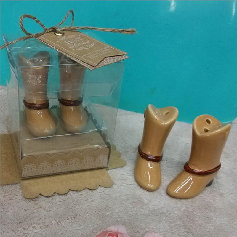 Just Hitched Ceramic Cowboy Boot Salt and Pepper Shakers Bridal Shower Favors For Guest 20pcs=10box