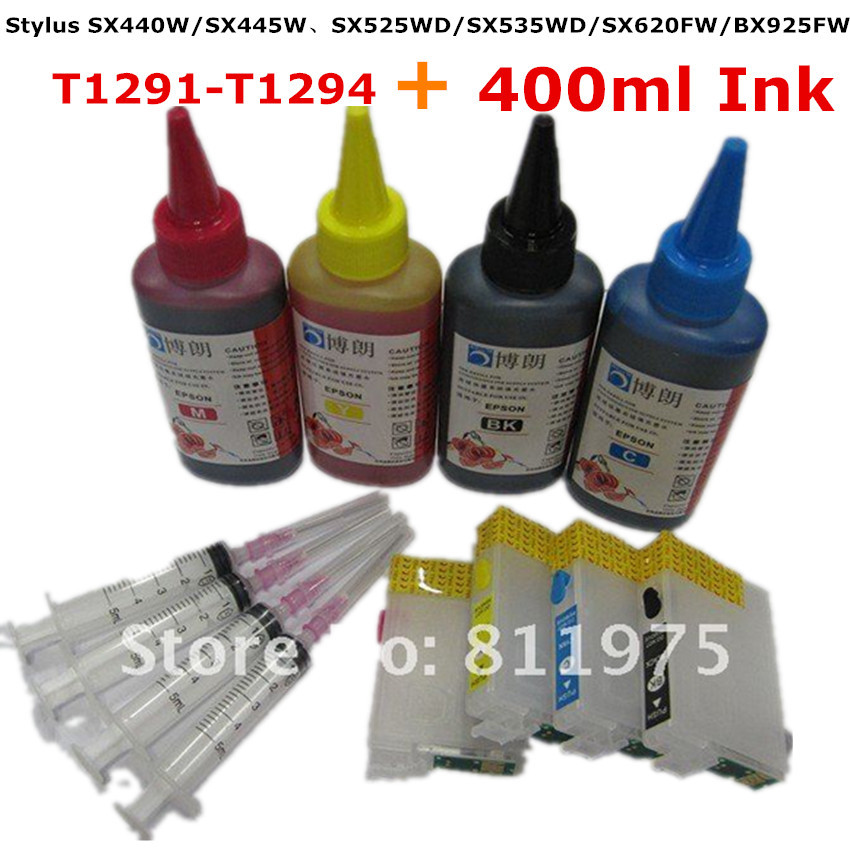 T1291-1294 Refillable ink cartridge for EPSON Stylus SX440W SX445W SX525WD SX535WD SX620FW BX925FW + for EPSON Dey ink 400ML цены