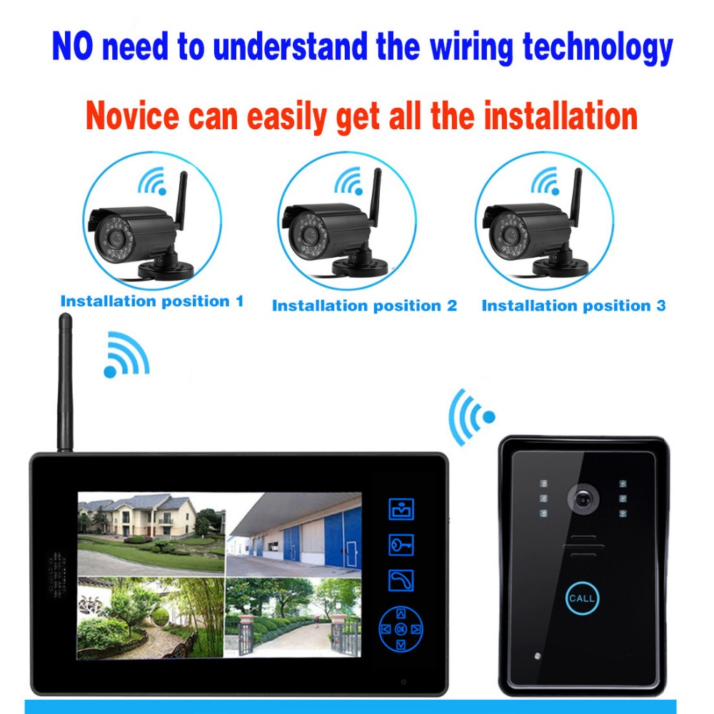 Video surveillance new smart wireless 7-inch monitor suite high-definition screen monitoring wireless  video doorbell 7 inch wired high definition swipe card embedded installation video doorbell