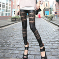 2016 Lady Women Fashion Lace Patchwork Artificial Leather Close-fitting Pant Leggings Black