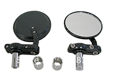 "Carbon Fiber 3"" Round Bar End Mirrors fits for Ducati Monster 600 620 695 696 800 S2R Custom Free Shipping"