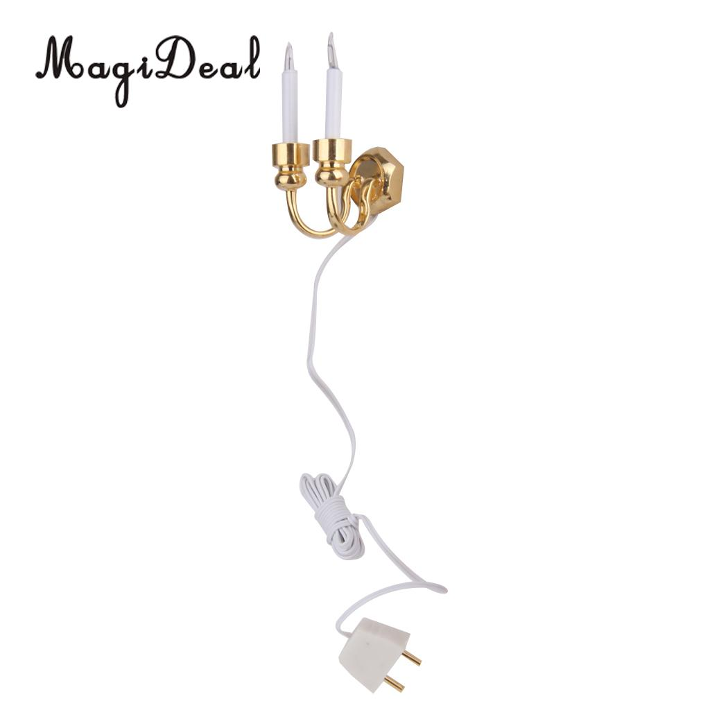 1 12 Scale Dollhouse Miniature Mini Candle Shaped Double Headed Doll House Wiring Light Wall Lamp With