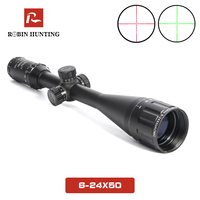 6 24X50 Tactical Optical Rifle Scope Red and Green Mil dot Illuminated Sniper Hunting Scopes Air Gun with 11 20mm Rail Mou