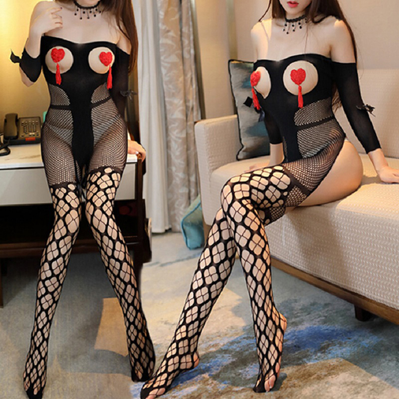 <font><b>Sexy</b></font> Hot <font><b>Erotic</b></font> Fishnet Open Bust Bowknot Sleeved Bodystocking <font><b>Lingerie</b></font> Babydoll Teddy Stripper Lenceria Porn <font><b>Latex</b></font> Catsuit image