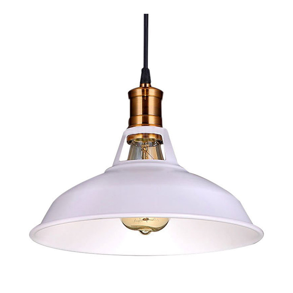 Retro Industrial Edison Simplicity Chandelier Vintage Ceiling Lamp with Metal Shiny Nordic style Shade (White) 10 lights creative fairy vintage edison lamp shade multiple adjustable diy ceiling spider pendent lighting chandelier 10 ligh