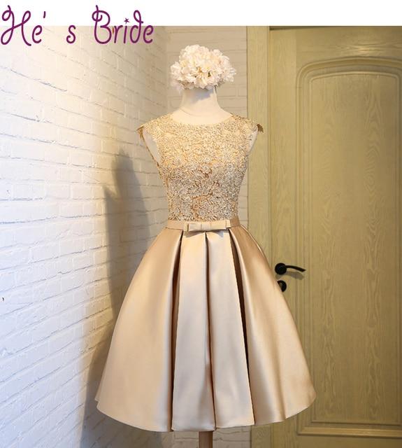 d4f4c0c881 Robe De Soiree A Line Gold Satin Short Evening Dress Party Elegant Vestido De  Festa Floral Party Prom Gown 2018 With Appliques