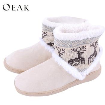 Oeak Frauen Hause Weichen Stiefel Schuhe Winter Warme Stiefel Indoor Nette Deer Form Schnee Stiefel 2018 Neue Mode