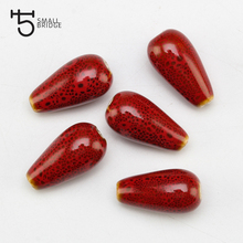 13mm Flower Glazed Ceramic Beads For Jewelry Earrings Making Women Diy Loose Water Drop Porcelain Wholesale U702