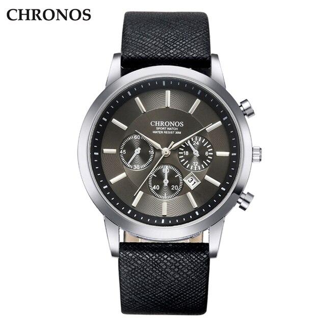 CHRONOS Men Wrist Watch Leather Strap Quartz Watches Men's Business Watch Male D