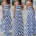 2016 Women Summer Sexy Long Maxi Party Sleeveless Stomacher Dress Stripe Seaside Beach Dress Sundress Wholesale