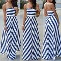 2016 mulheres verão sexy vestido de festa longo maxi mangas stomacher dress stripe seaside beach dress vestido de verão atacado
