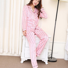 Silk Striped Pink Women Pajamas Set Femme Sexy Pjs Shorts Lingerie 2019 Spring V-Neck Pyjama Top Fashion New Arrival