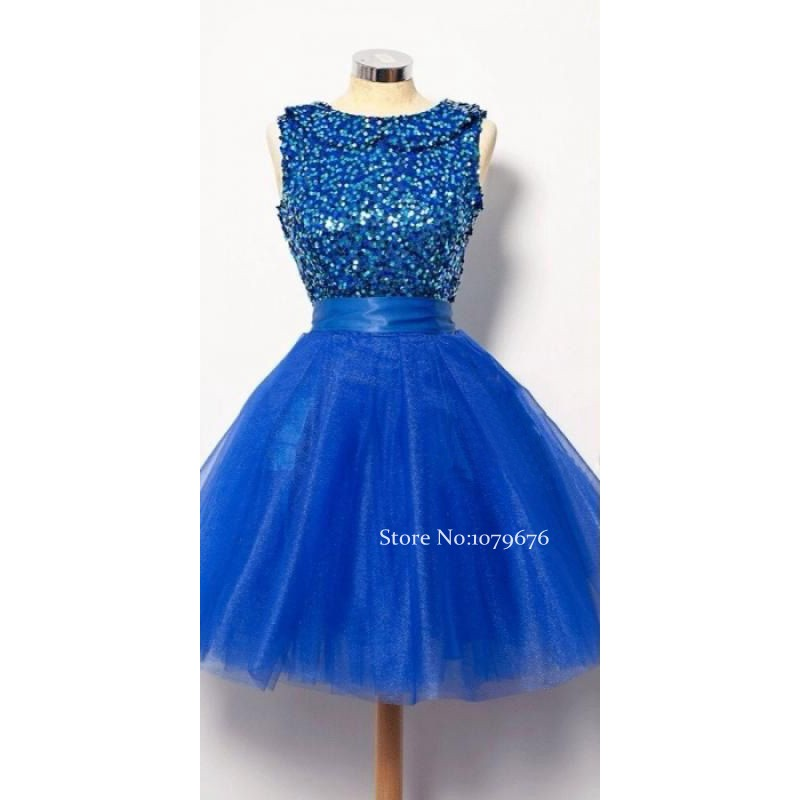 Real Smaple Pretty Girl s Sleeveless Tulle Homecoming Dresses A Line Royal  Blue Sequined Prom Dress Cute Party Gowns Cheap-in Homecoming Dresses from  ... 4a3b696e9cf2