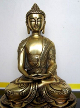 Copper Brass CHINESE crafts Asian Elaborate China Tibetan Buddhis Amitabha Buddha Statue Sculpture все цены