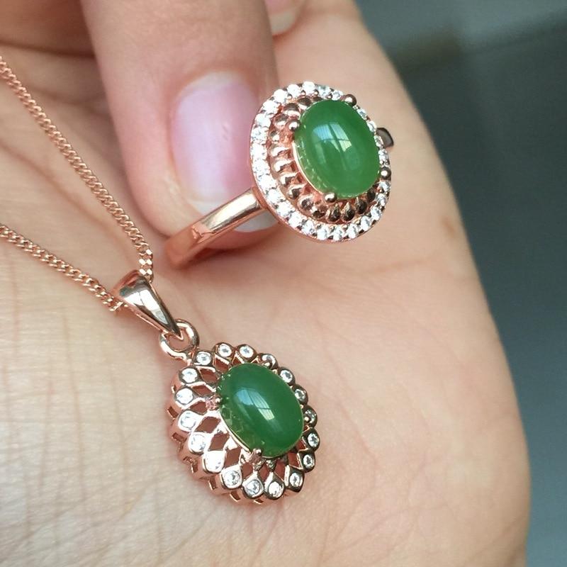 MeiBaPJ Classic Natural Nephrite Jade Gemstone Jewelry Set  925 Sterling Silver 2 Siut Green Stone Fine Jewelry For Women