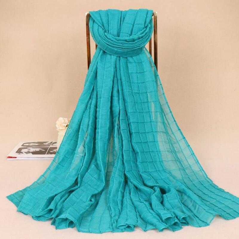 180*85Cm Winter Fashion Plain Solid Plaid Ripple Viscose   Scarf   Shawl Wrinkle Long Soft Sjaal Echarpe Foulard Femme Muslim Hijabs