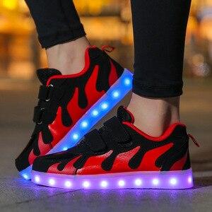 Image 2 - Size25 38 USB çocuk parlayan sneakers ile işıklı ayakkabı kanvas ayakkabılar aydınlık sneakers erkek kız krasovki arkadan aydınlatmalı