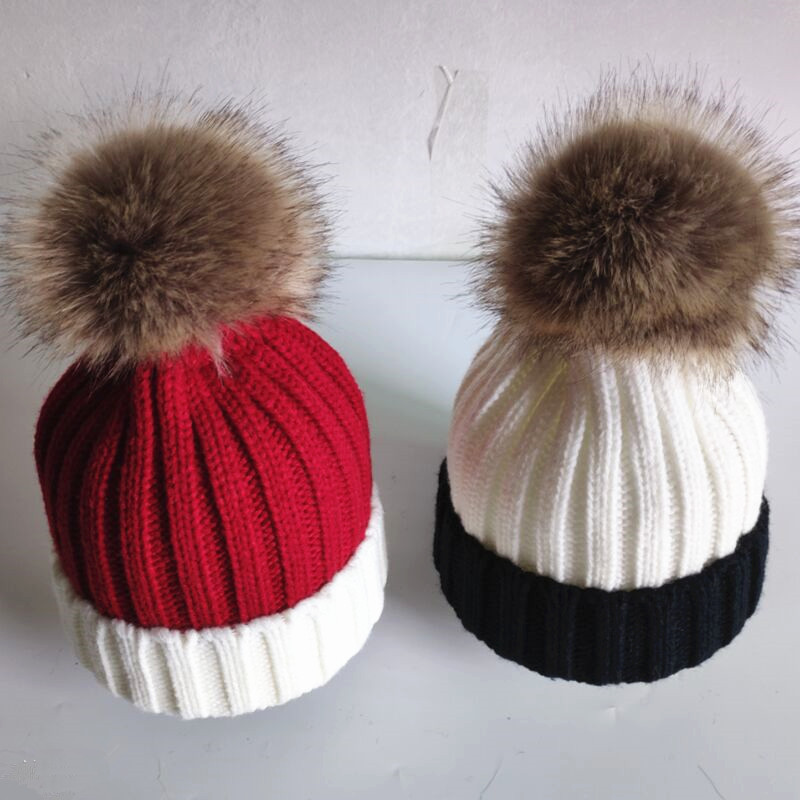 Winter Kids Fluffy Nature Color Artificial Polyester Pom pom Knitted Hats Knitting   Skullies     Beanies   With Removable Hairy Ball