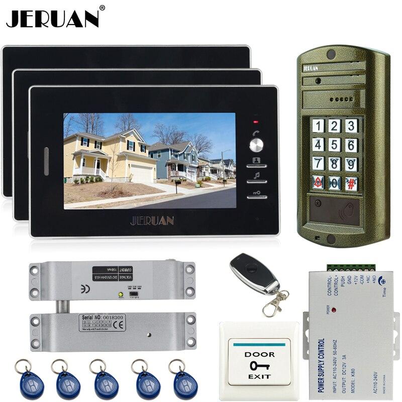 JERUAN Wired 7 inch Video Door Phone Intercom System kit 3 Monitor + Metal Waterproof Access Password keypad HD Mini Camera 1V3
