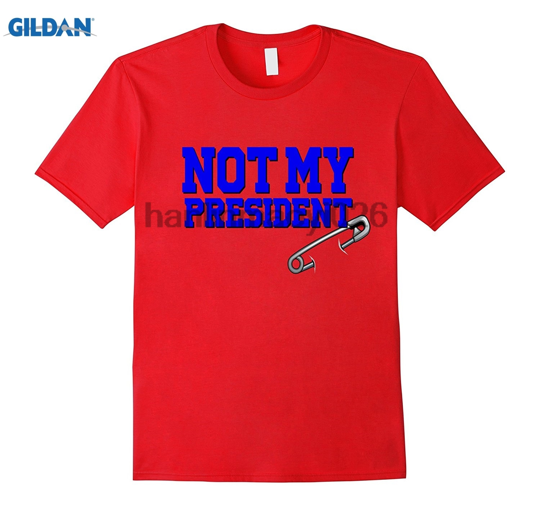 GILDAN Safety Pin Not My President Shirt Trump Hillary USA Blue
