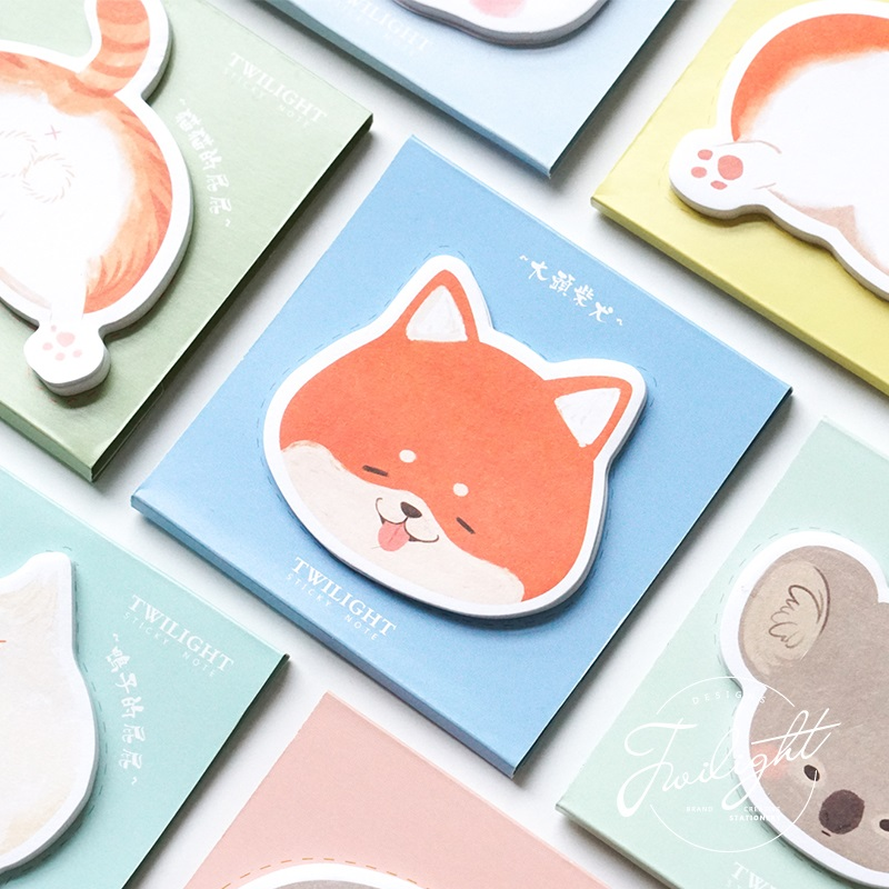 4pcs Cartoon Animal Buttocks Memo Pad Cute Fox Panda Cat Dog Sticky Notes Planner Sticker Stationery Office School Supplies F330